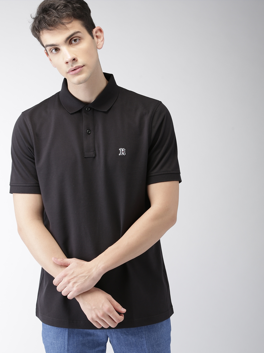 official photos bf953 03902 Tommy Hilfiger LEWIS HAMILTON Men Black Solid Polo Collar T-shirt