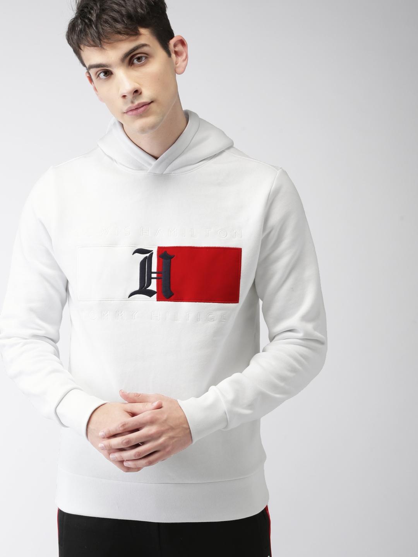 0075375c Buy Tommy Hilfiger LEWIS HAMILTON Men White Solid Hooded Sweatshirt ...