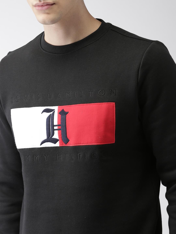 8d4219e145b3 Buy Tommy Hilfiger LEWIS HAMILTON Men Black Solid Flag Sweatshirt ...