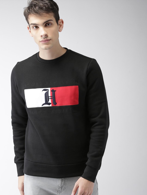 380e3dd8cec Buy Tommy Hilfiger LEWIS HAMILTON Men Black Solid Flag Sweatshirt ...
