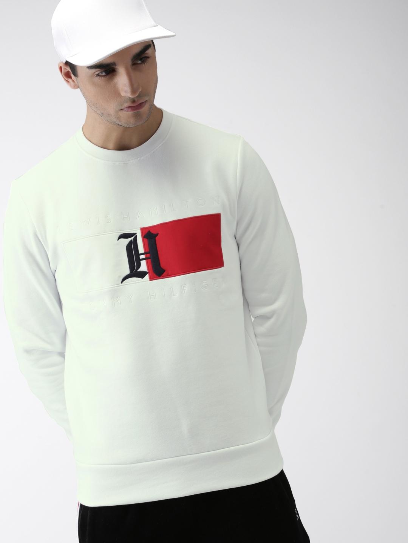 3f7e897fd82fa9 Buy Tommy Hilfiger LEWIS HAMILTON Men White Solid Flag Sweatshirt ...