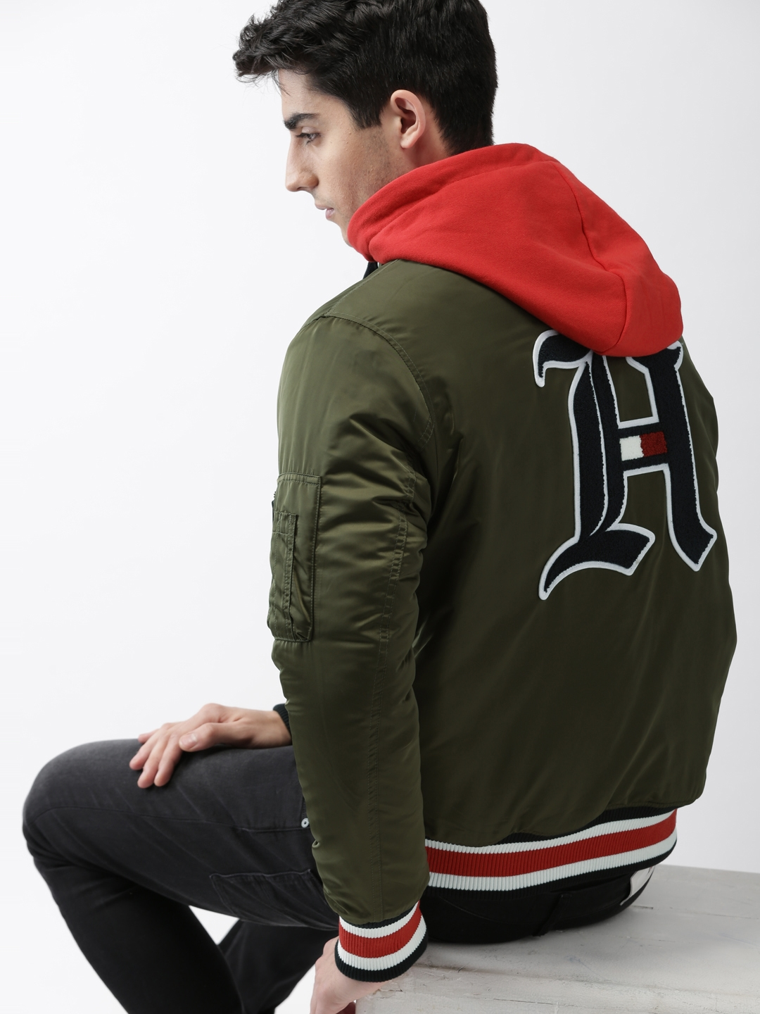 94c3f30a6 Tommy Hilfiger LEWIS HAMILTON Men Olive Green Bomber with Detachable Hood