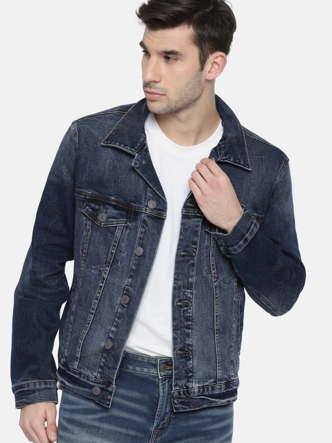 071feb563ee Buy AMERICAN EAGLE OUTFITTERS Men Blue Solid Denim Jacket - Jackets ...