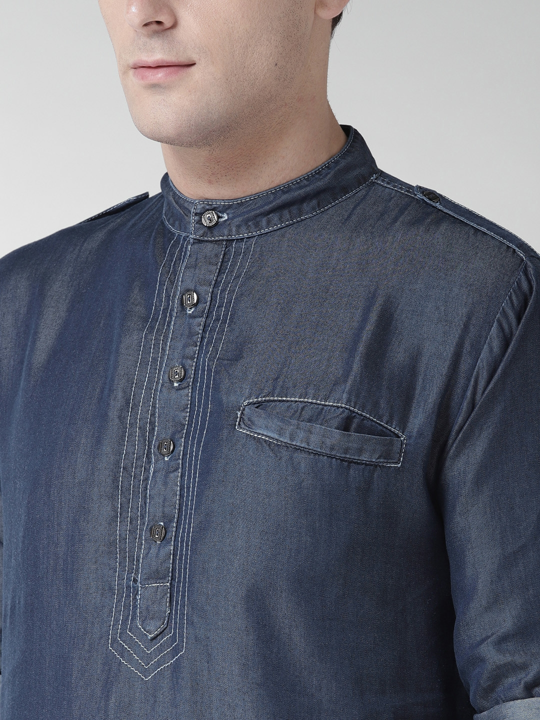 961d0678e0e Buy Style Quotient By Noi Men Navy Blue Chambray Solid Pathani Kurta ...