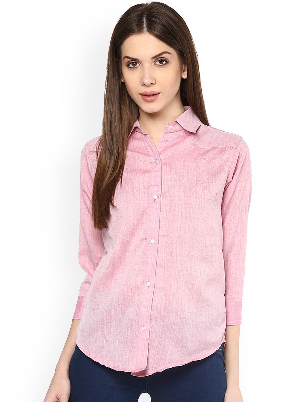 Mayra Women Pink Self Design Casual Shirt