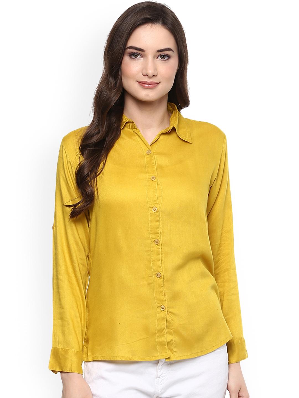 Mayra Women Yellow Regular Fit Solid Casual Shirt