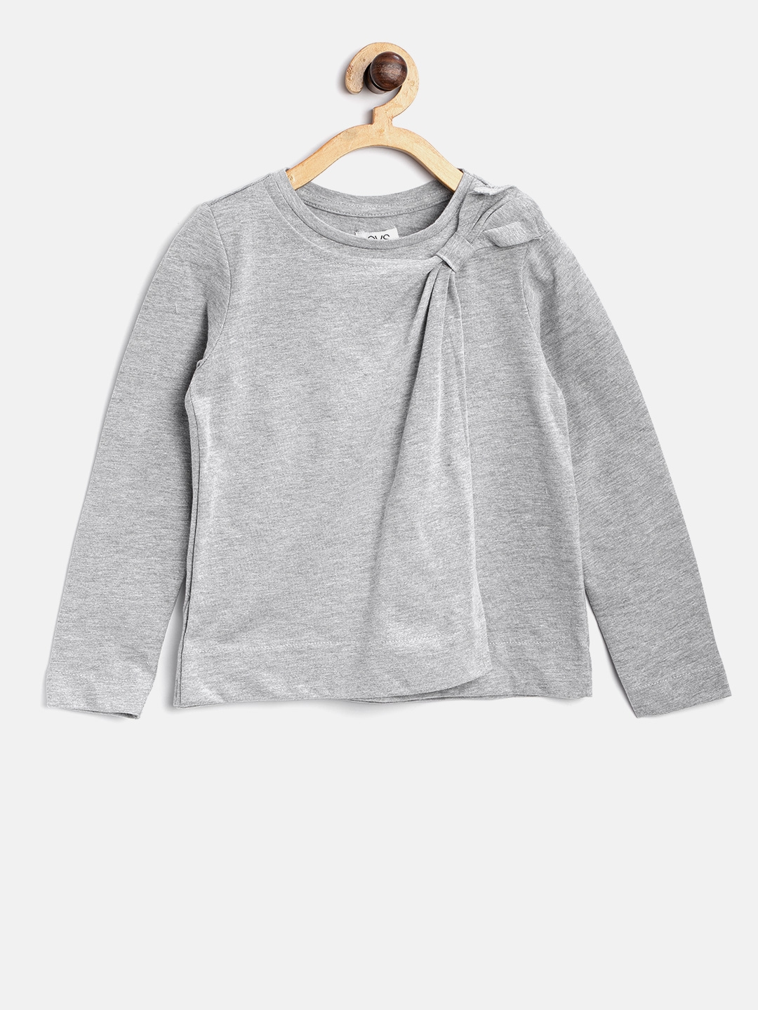 f93600c412e Buy OVS Girls Grey Melange Layered Top With Bow Detail - Tops for ...