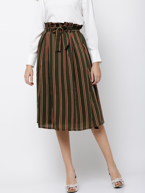 9bccc744d Buy Tokyo Talkies Women Olive Green Striped A Line Midi Skirt ...