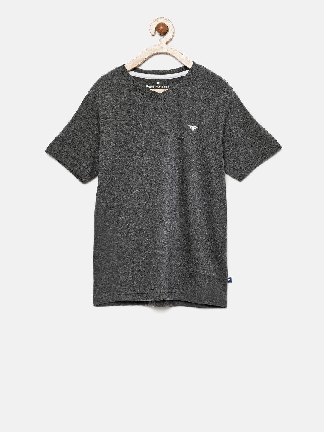 996437a7 Buy Fame Forever By Lifestyle Boys Charcoal Grey Solid V Neck T ...