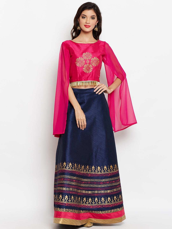 3f131fb4af studio rasa Navy Blue & Pink Block Printed Lehenga with Embellished Blouse