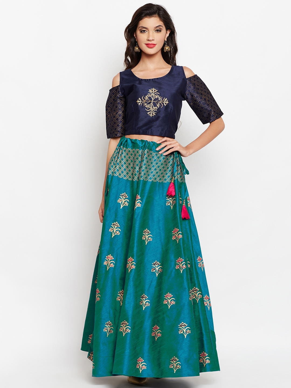 0c22f370c95d00 studio rasa Navy Blue   Green Block Printed Lehenga with Embroidered Blouse