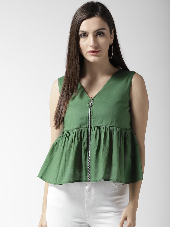 c5c139c83208 Buy QUIERO Women Olive Green Solid Peplum Top - Tops for Women ...