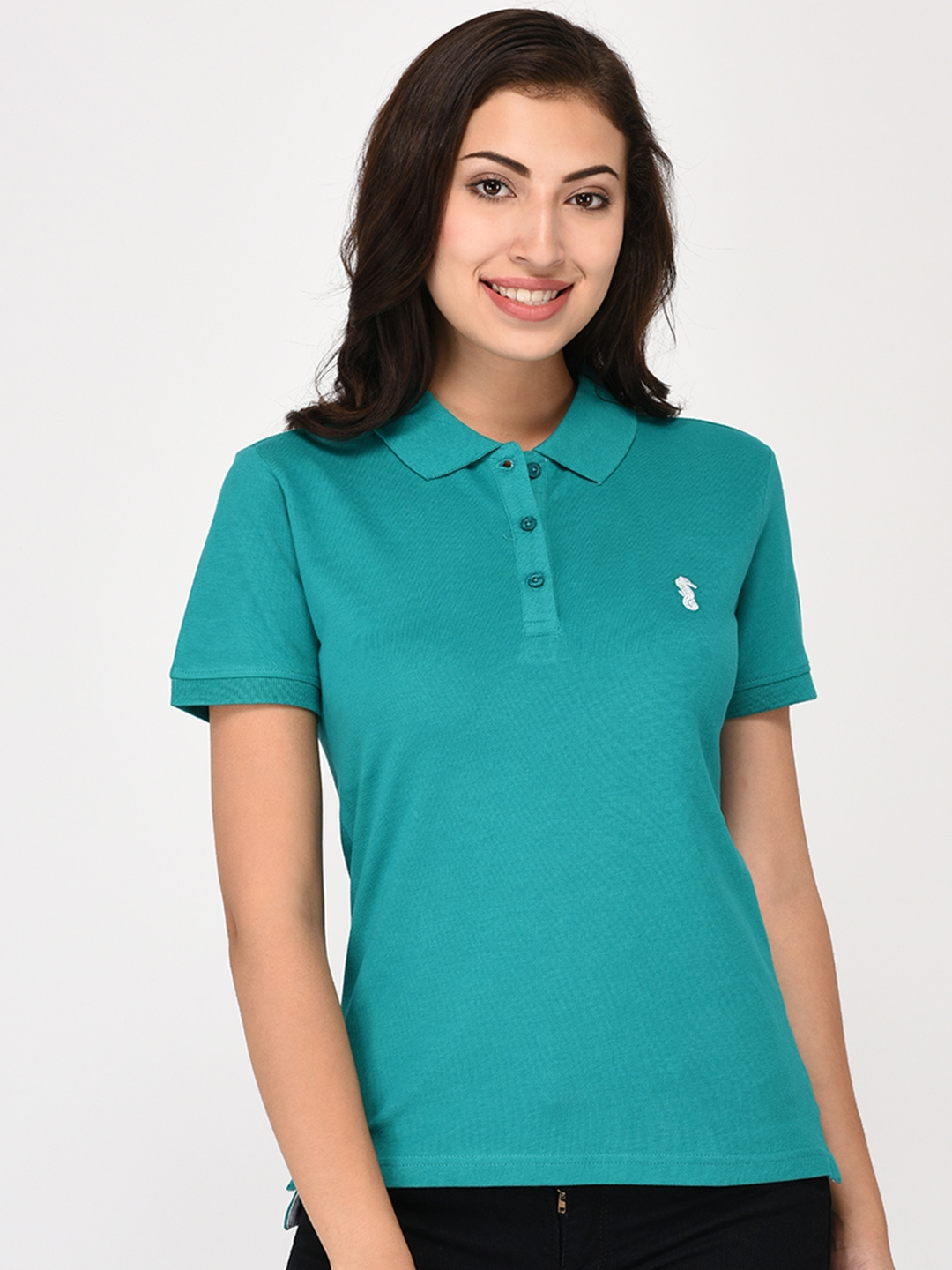 Buy United Classic Women Green Solid Polo Collar T Shirt Tshirts