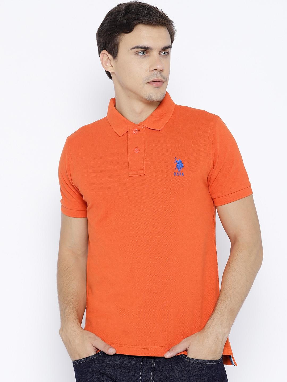 82562c89 Buy U.S. Polo Assn. Men Orange Solid Polo Collar T Shirt - Tshirts ...