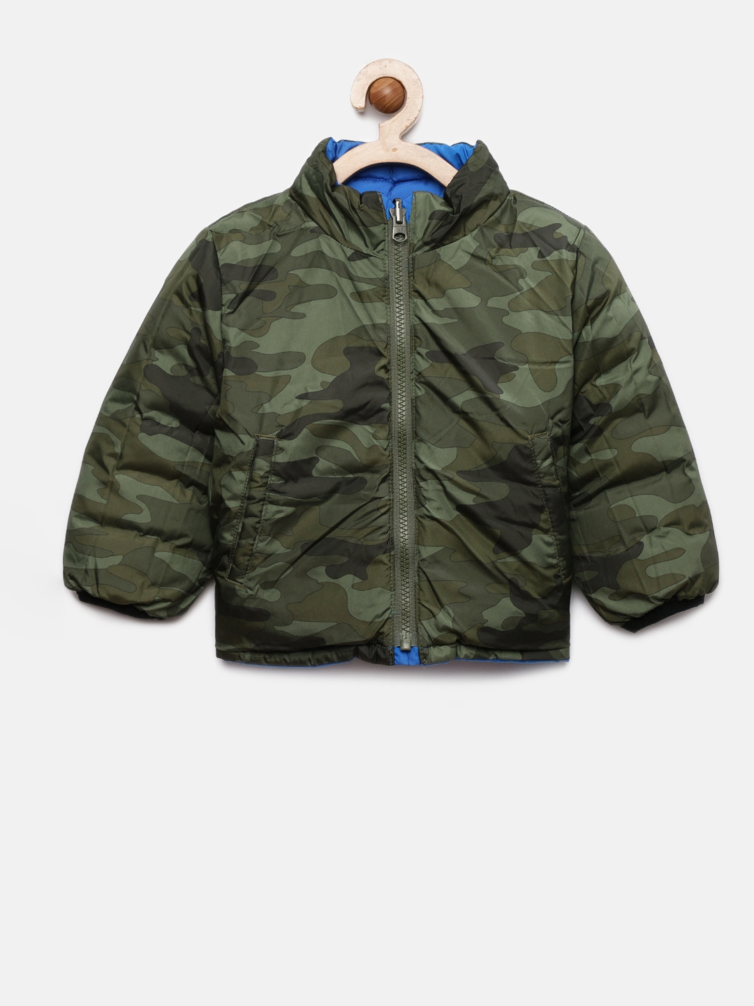 b4b7268f046a5 Buy GAP Boys' Olive Green & Blue Reversible Camo Puffer Jacket ...