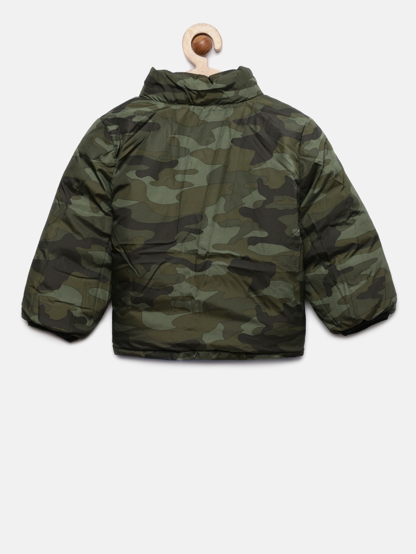 b4b7268f046a5 Buy GAP Boys' Olive Green & Blue Reversible Camo Puffer Jacket ...