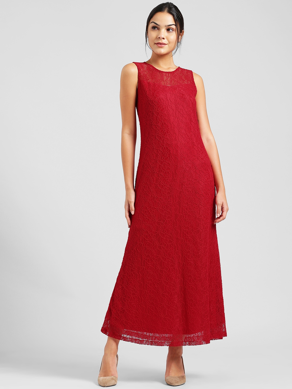 037f9340e38 Buy Zink London Women Red Self Design Maxi Dress - Dresses for Women ...