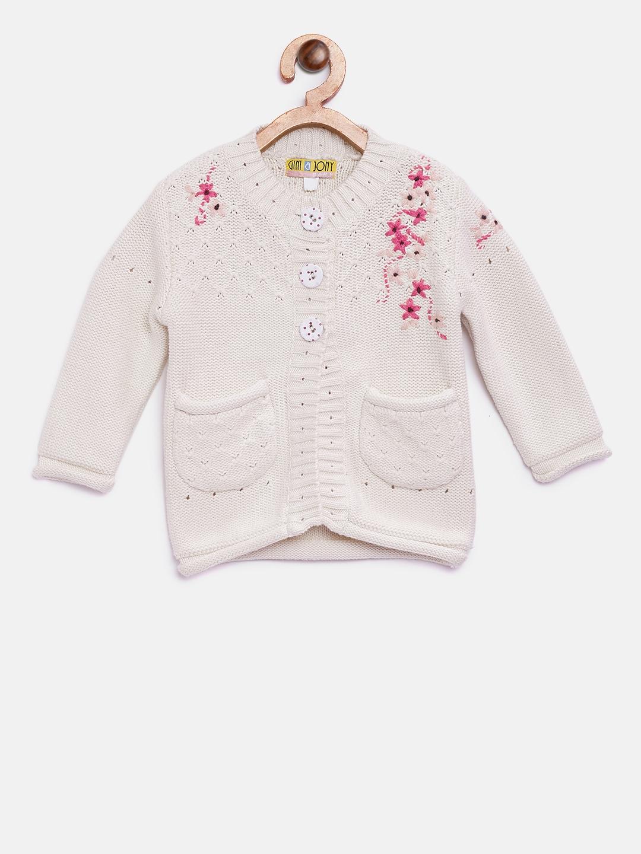 f3724bf0db15 Buy Gini And Jony Girls Off White Self Design Cardigan - Sweaters ...