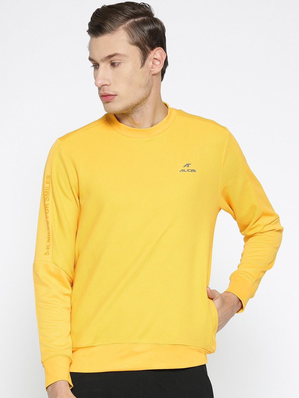 Alcis Men Yellow Self Design Sweatshirt
