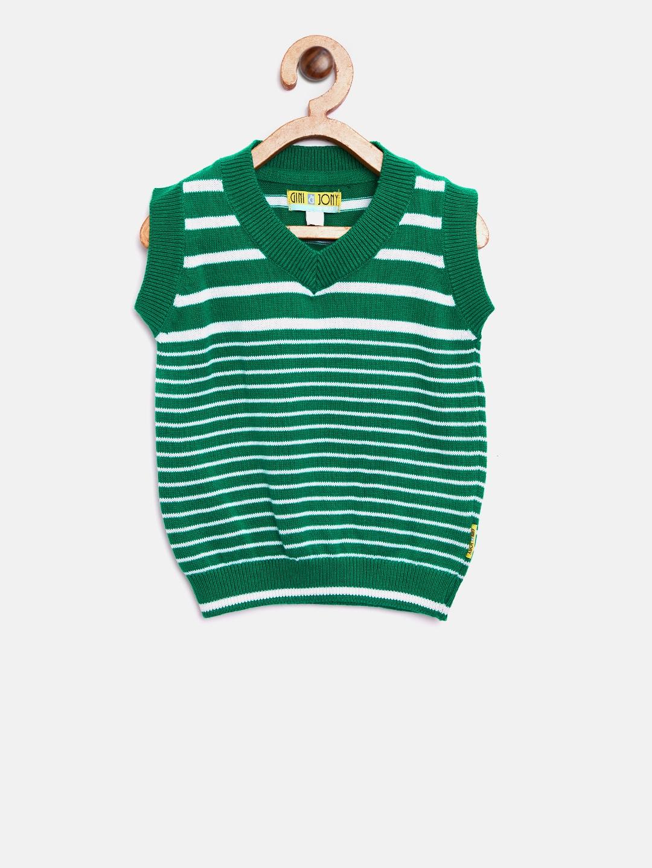 8491fb02c Buy Gini And Jony Boys Green   White Striped Sweater Vest - Sweaters ...