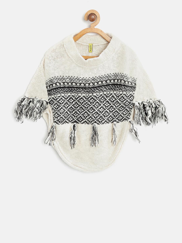 2c345fd5130e Buy Gini And Jony Girls Off White   Black Self Design Pullover ...