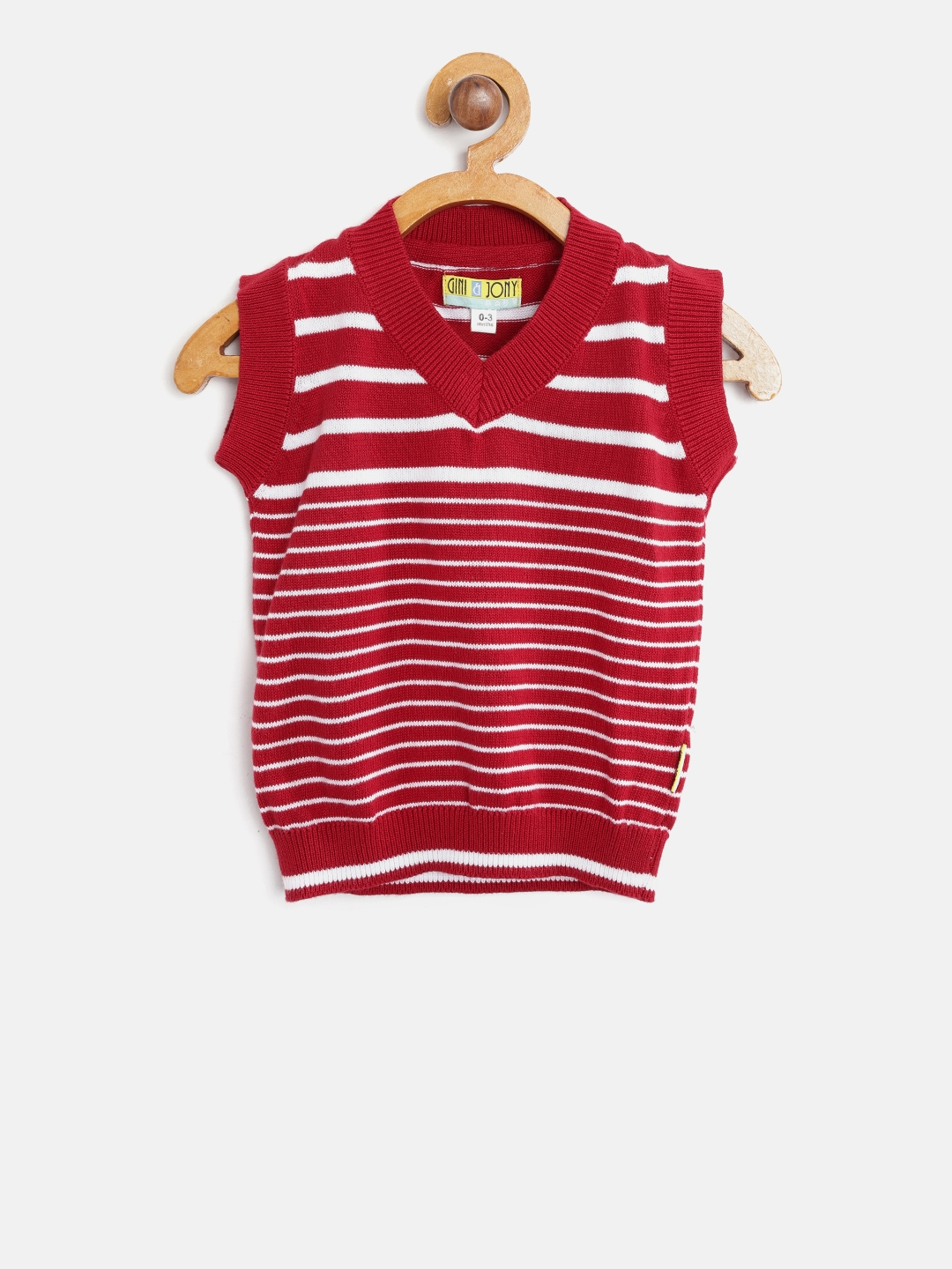 4a5cabd8f Buy Gini And Jony Boys Red   White Striped Sweater Vest - Sweaters ...