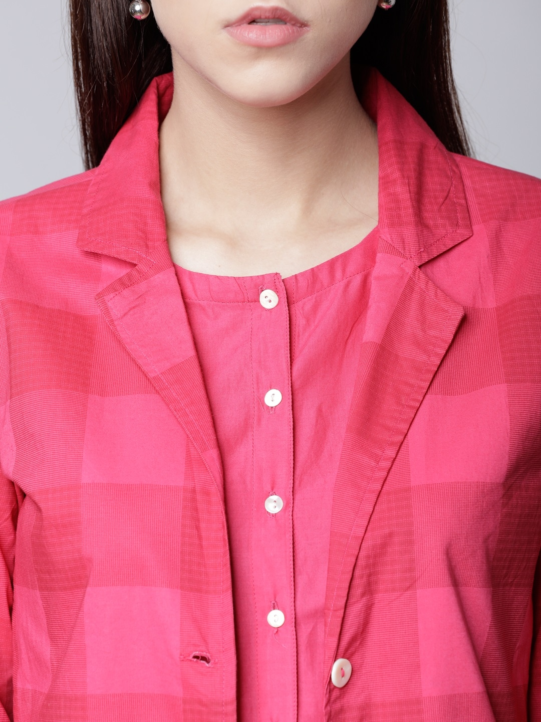 Buy Vishudh Women Pink Checked Shirt Dress With Front Open Jacket ... ddc9b99a3