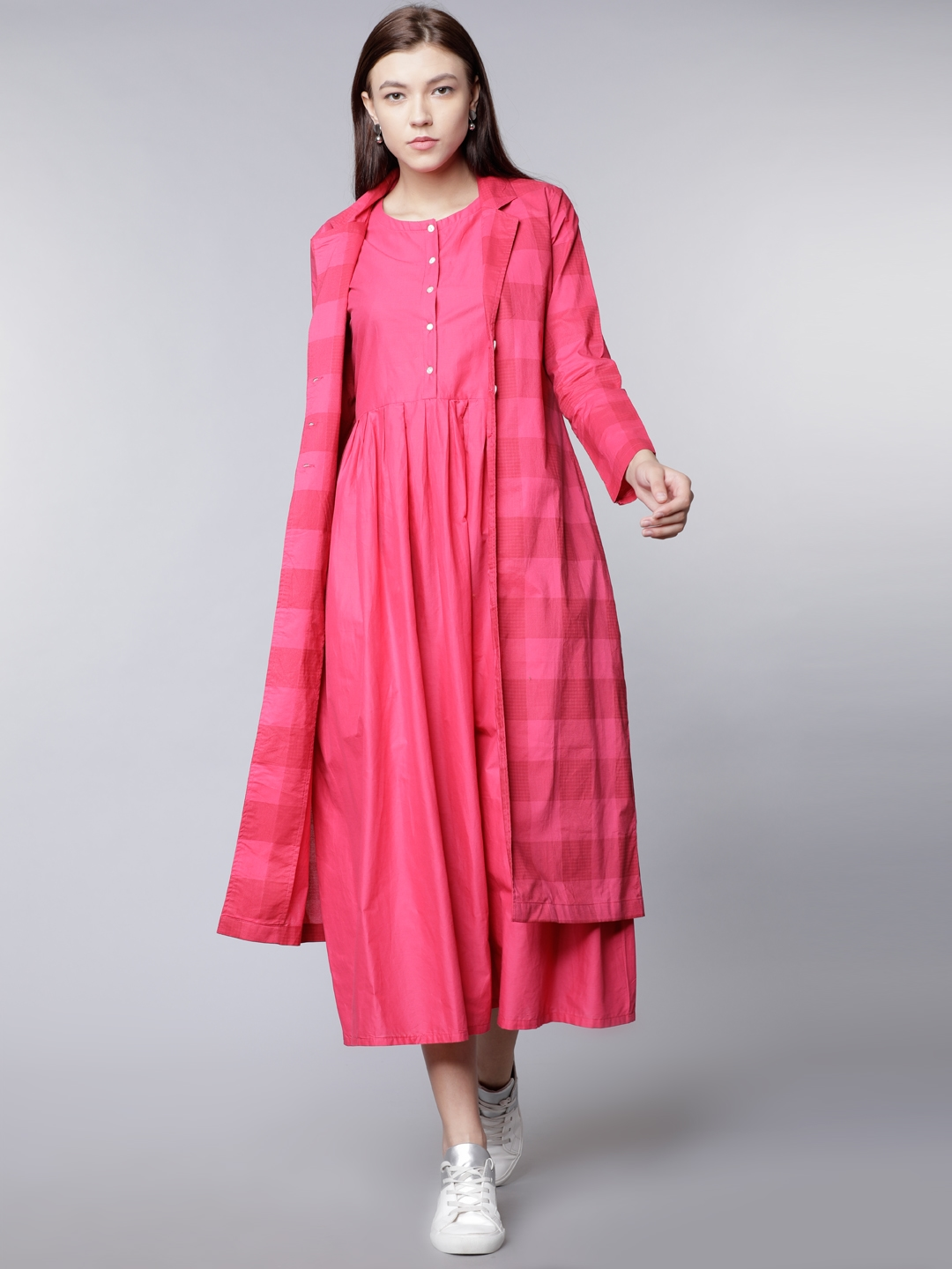 df196cb44dcf Buy Vishudh Women Pink Checked Shirt Dress With Front Open Jacket ...