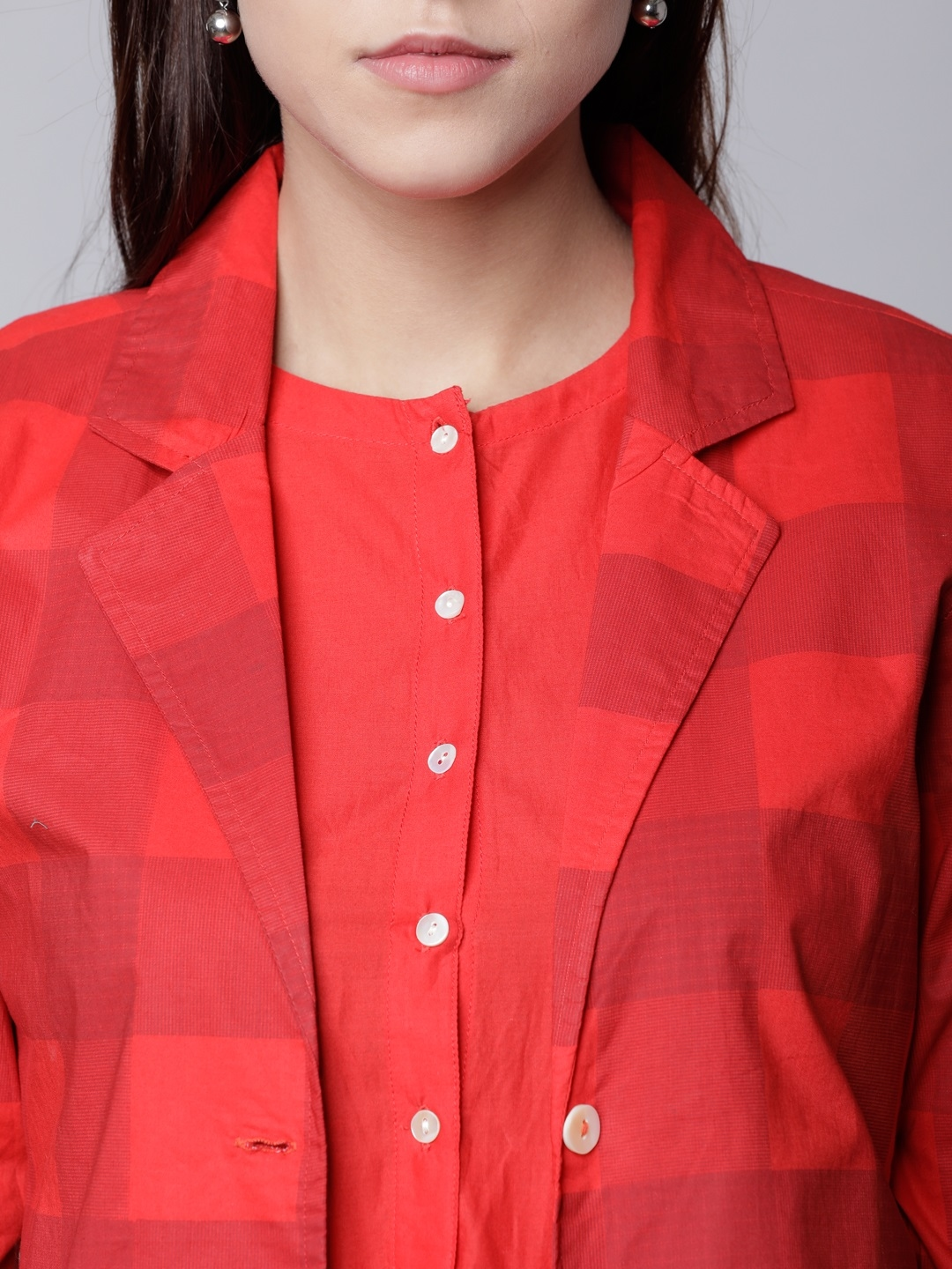 Buy Vishudh Women Red Checked Shirt Dress With Front Open Jacket ... d252d2164