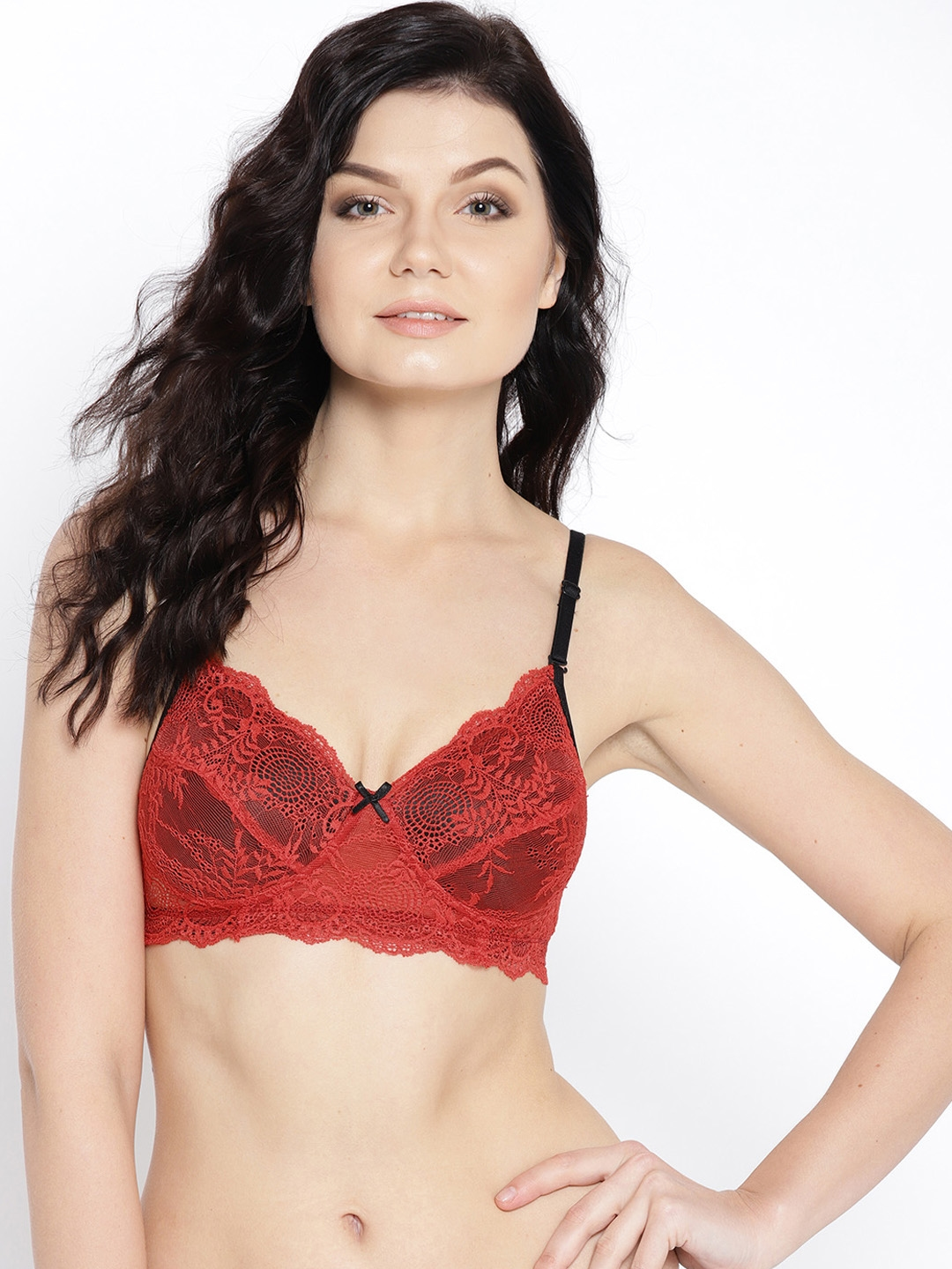 88b02ffc3c13d Clovia Red   Black Lace Non-Wired Heavily Padded Everyday Bra BR1000P0440C