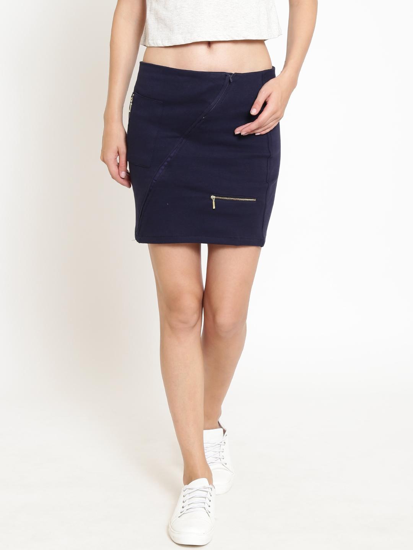 4280307cab Buy Rider Republic Women Navy Solid Mini Pencil Skirt - Skirts for ...
