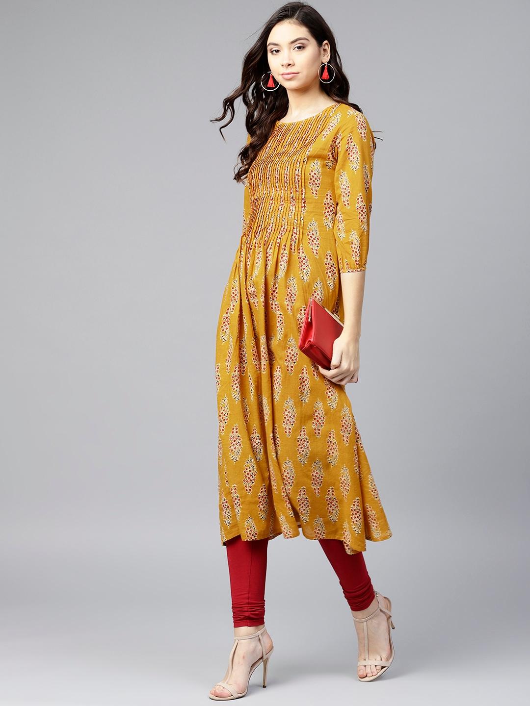 4a24e56e82 Buy Varanga Women Mustard Yellow   Maroon Printed A Line Kurta ...