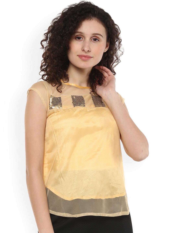 Mayra Women Beige Self Design Top