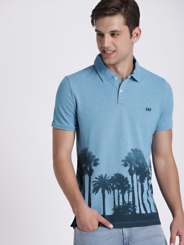 e46f7222420 Buy GAP Men Blue Printed Polo T Shirt - Tshirts for Men 7226469