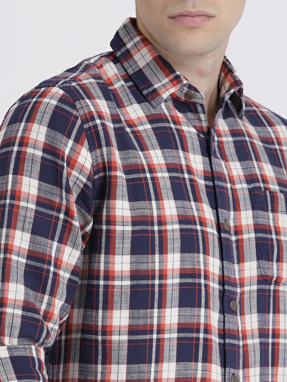 Buy GAP Mens Navy Red Standard Fit Shirt In Slub Cotton Twill