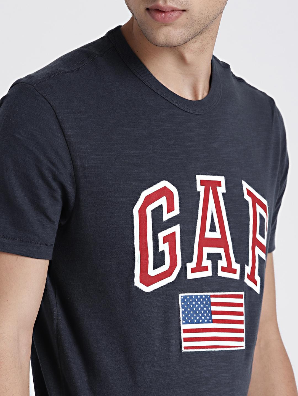 56eecc0b47e17d Buy GAP Men's Navy Blue Flag And Logo Applique Cotton T Shirt ...