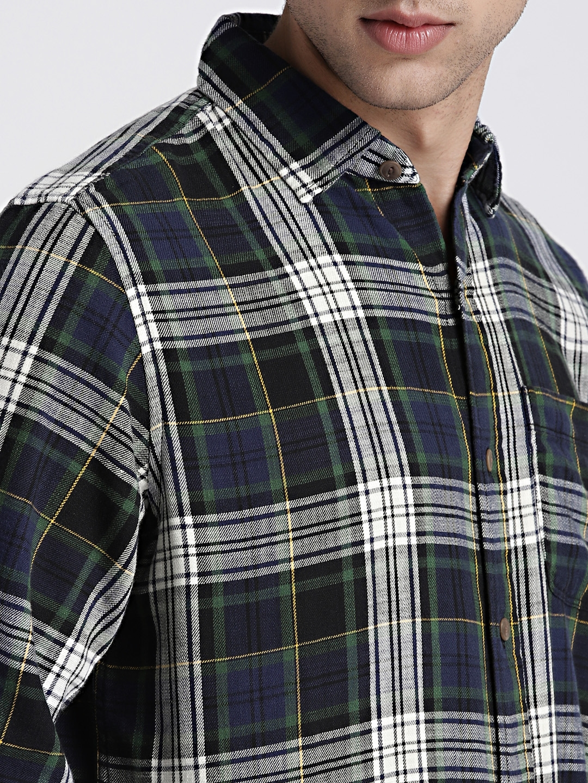 Buy GAP Mens Navy Green Standard Fit Shirt In Slub Cotton Twill