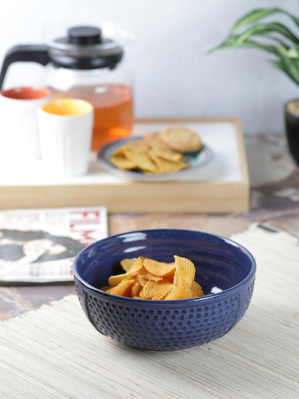 VarEesha Blue Textured 7 Inch Ceramic Bowl
