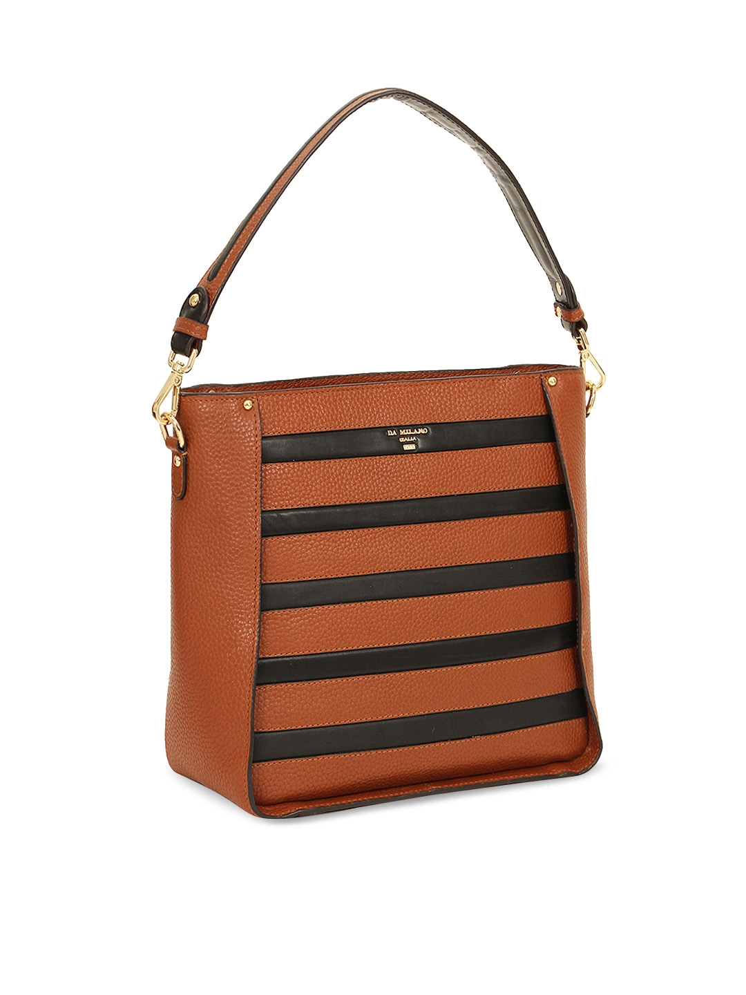 43c939f1d2 Buy Da Milano Brown & Black Striped Leather Shoulder Bag - Handbags ...