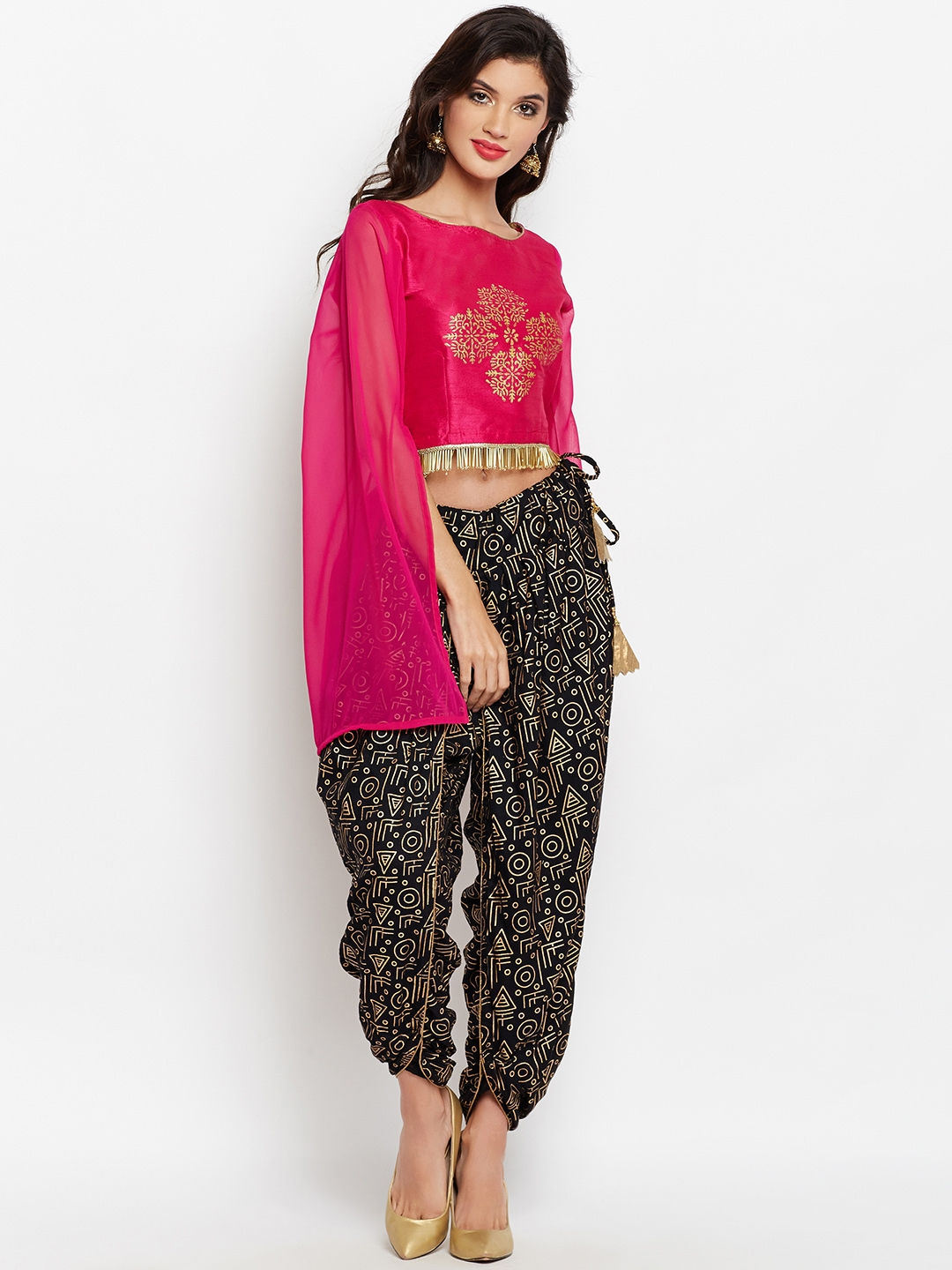 0c841dccce31 Buy Studio Rasa Women Black   Pink Block Printed Crop Top With Dhoti ...