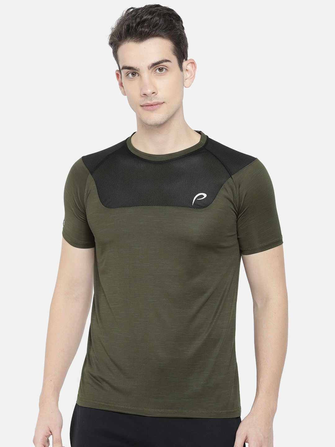 ba6c31a9a74b Buy Proline Active Men Olive Green & Black Solid Round Neck T Shirt -  Tshirts for Men 7233171 | Myntra