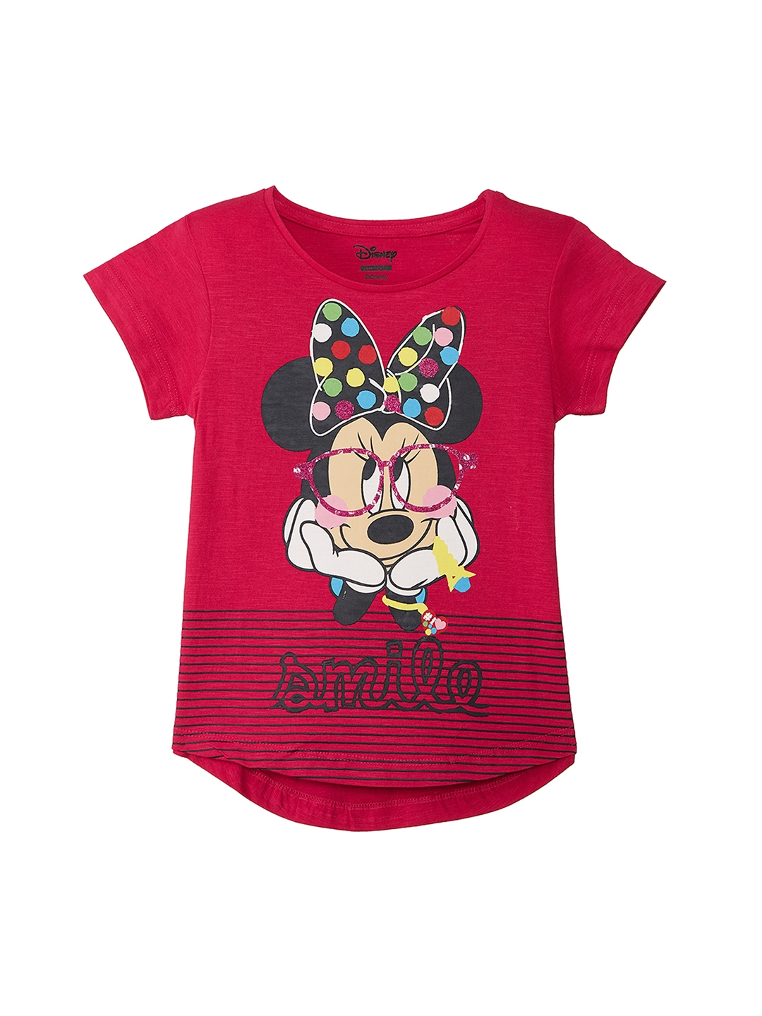 d41d5557e09a Buy Mickey & Friends By Kidsville Girls Pink Printed Minnie Mouse T ...