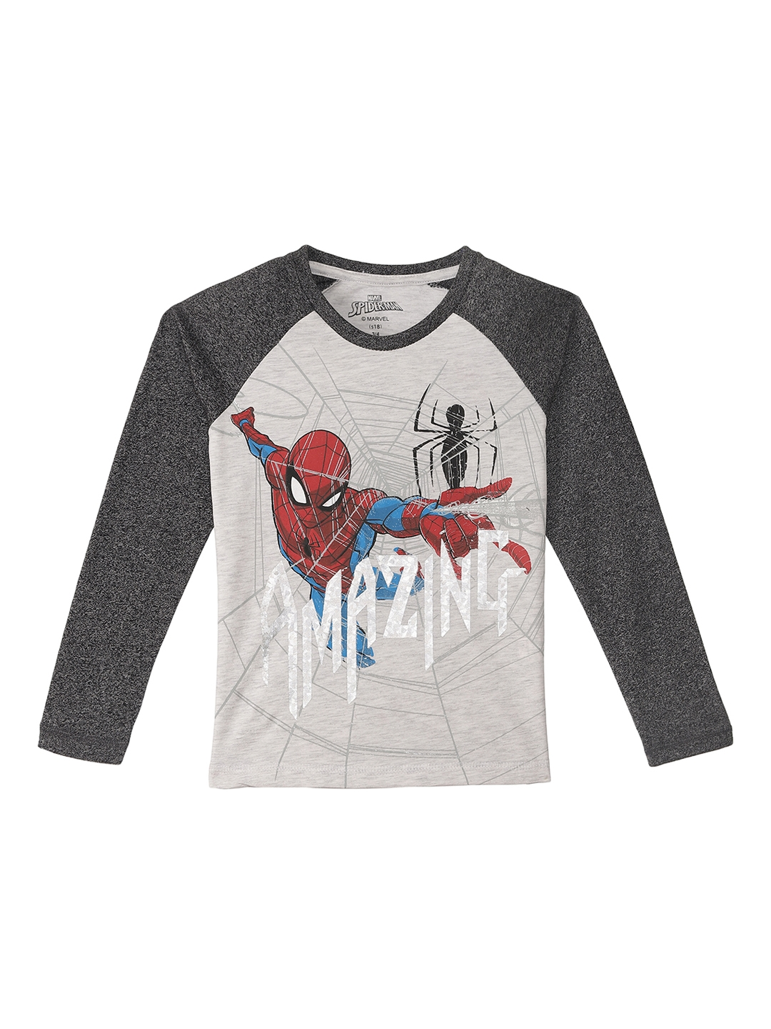 5a5a632c Buy Kids Ville Boys Grey Printed Spiderman T Shirt - Tshirts for ...