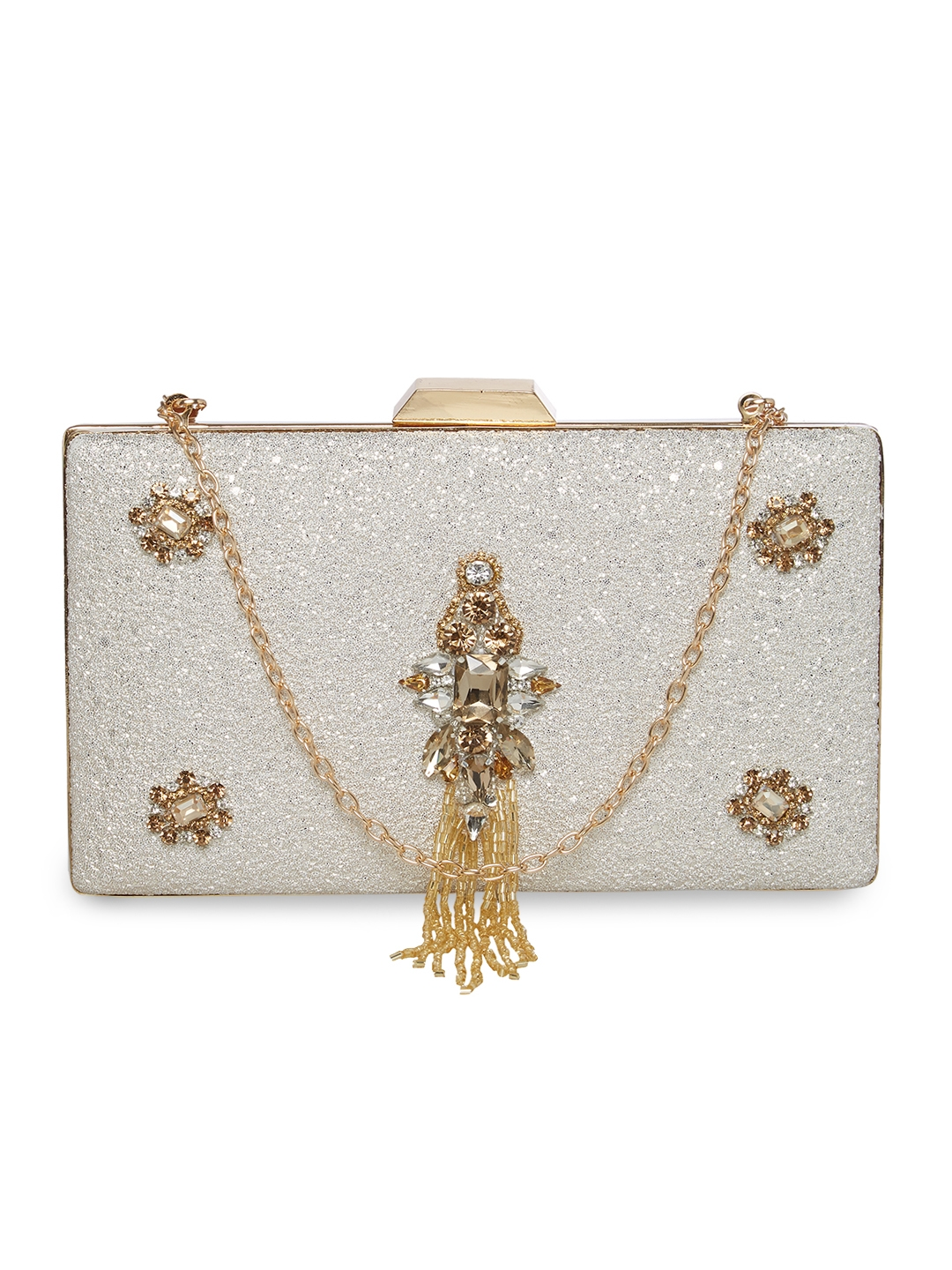 TARUSA Ivory White Synthetic Shimmer Material Abstract Pattern Box Clutch  For Women's