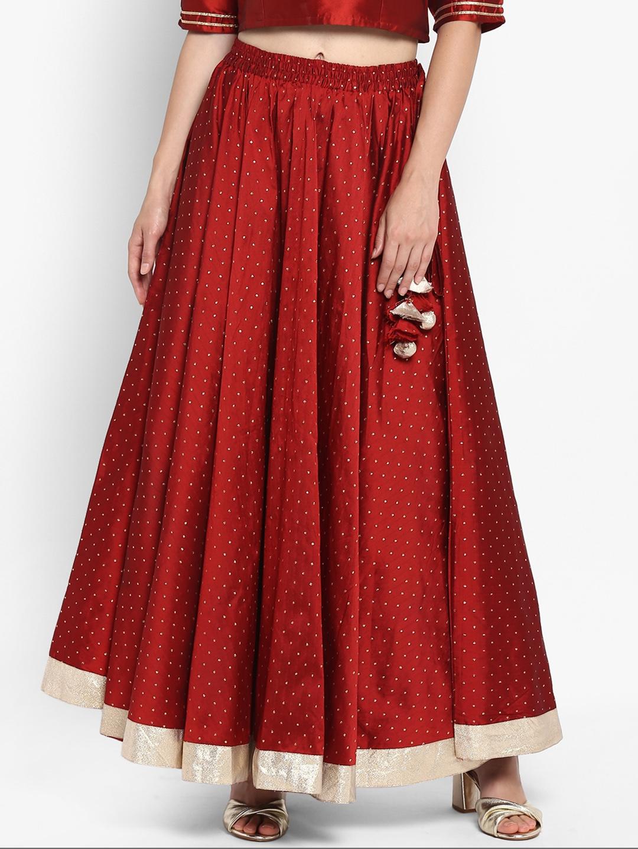 ac80795f70 Buy Varanga Women Maroon Embellished Flared Skirt - Skirts for Women ...