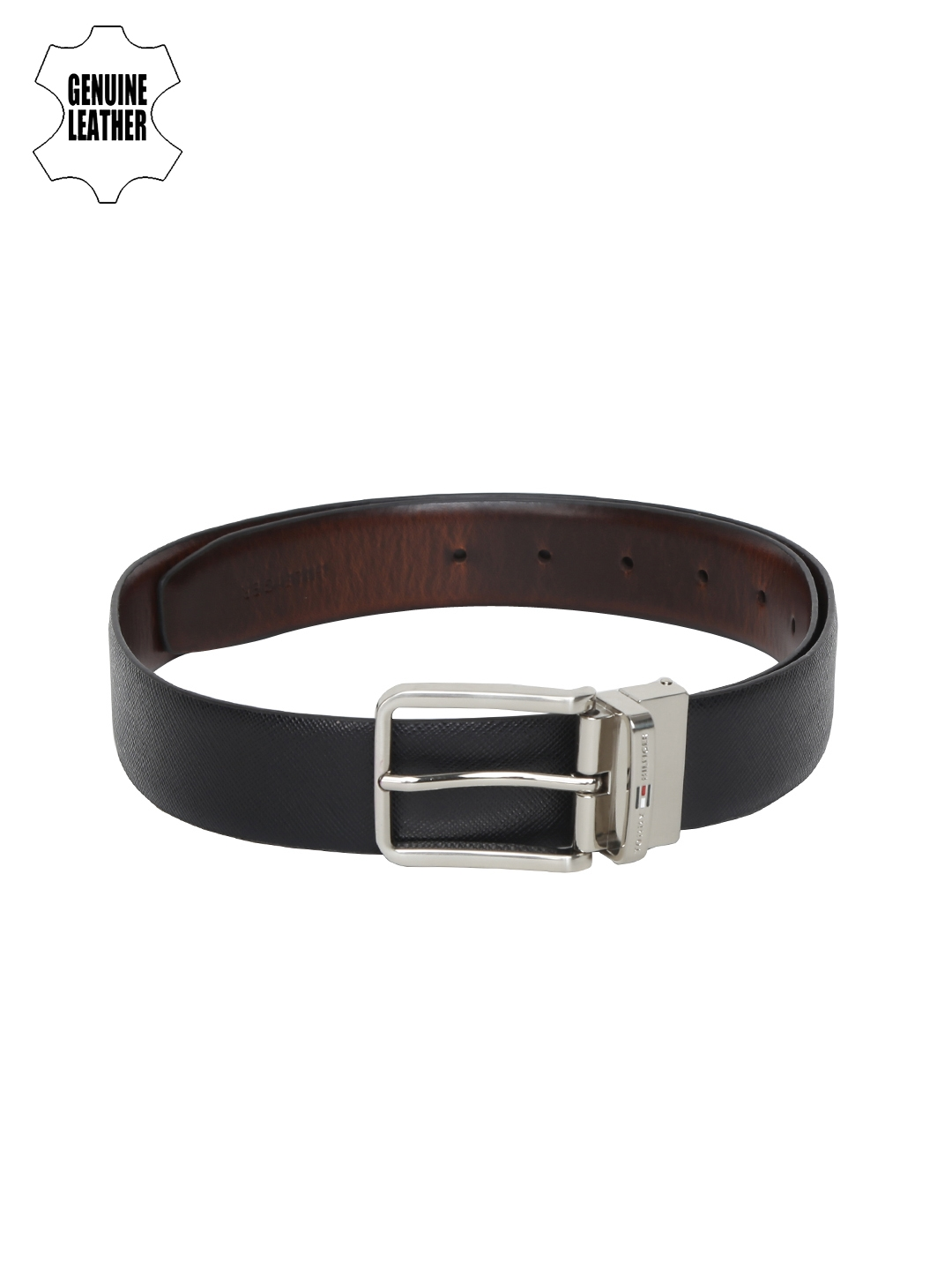 ff82653d9870 Buy Tommy Hilfiger Men Black   Brown Solid Reversible Leather Belt ...