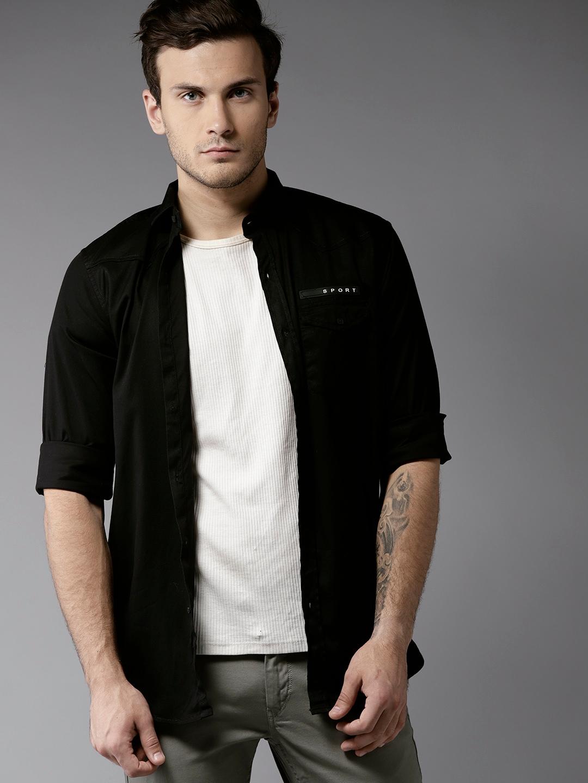 095befcb91943 Buy DENNISON Men Black Slim Fit Solid Casual Shirt - Shirts for Men ...