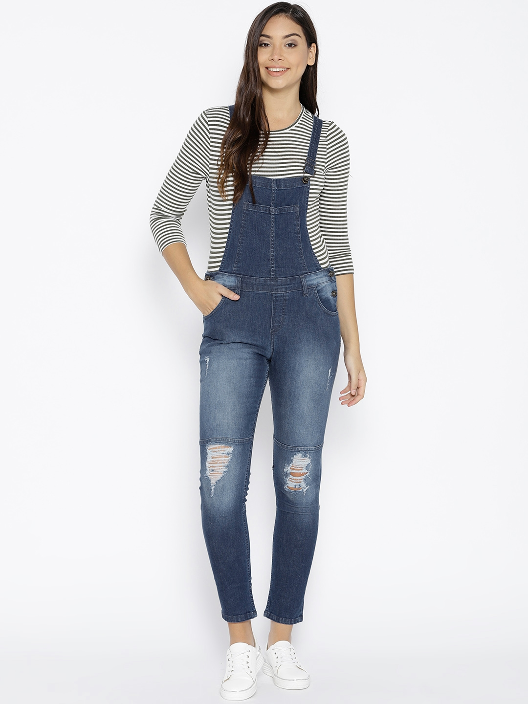 26c6eb496b160a Lee Cooper Women Navy Blue Washed Mildly Distressed Cropped Denim Dungarees