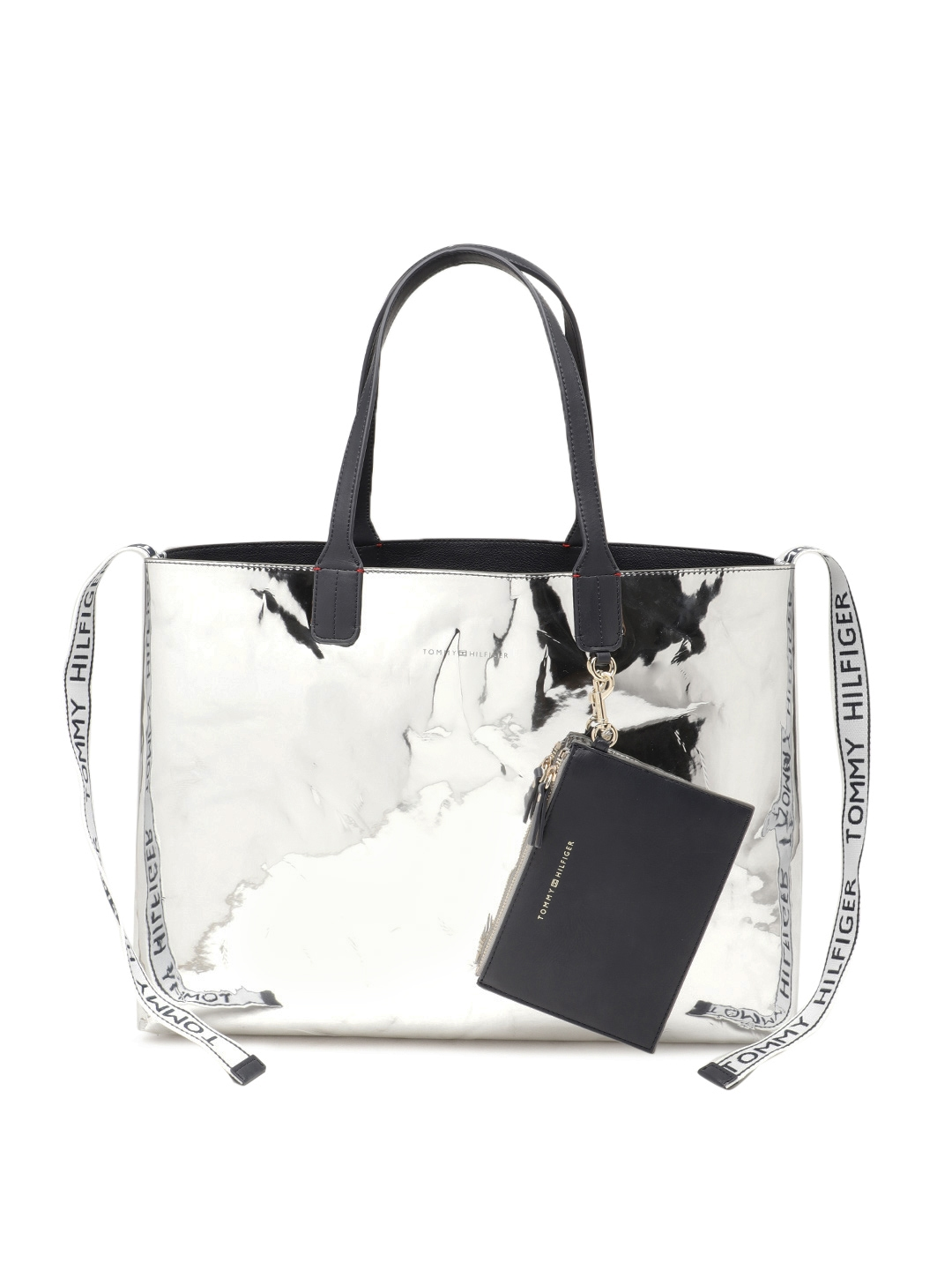 9ebe149f1 Buy Tommy Hilfiger Silver Toned Solid Tote Bag - Handbags for Women ...