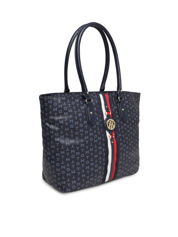 08c6c9e9d3 Buy Tommy Hilfiger Navy Blue Printed Shoulder Bag - Handbags for ...